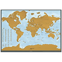 I Was Here Scratch-Off World Map (English, gold)